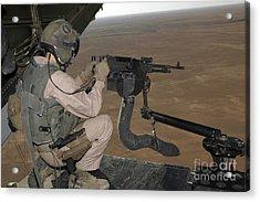 U.s. Marine Test Firing An M240 Heavy Acrylic Print by Stocktrek Images
