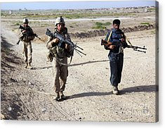 U.s. Marines And Afghan National Police Acrylic Print by Stocktrek Images