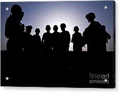 U.s. Marines And Civilian Contractors Acrylic Print by Stocktrek Images
