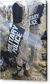 U.s. Marines And Sailors Don Riot Gear Acrylic Print by Stocktrek Images