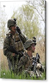 U.s. Marines Communicate Acrylic Print by Stocktrek Images