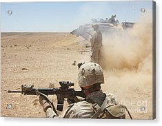 U.s. Marines Fire Several Acrylic Print by Stocktrek Images