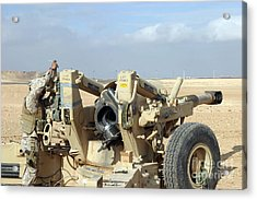 U.s. Marines Prepare To Fire A Howitzer Acrylic Print by Stocktrek Images