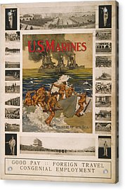 U.s. Marines Recruitment Poster Showing Acrylic Print by Everett
