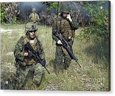 U.s. Marines Secure A Perimeter Acrylic Print by Stocktrek Images