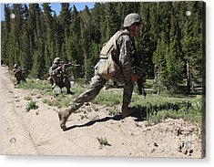 U.s. Marines Training At The Mountain Acrylic Print by Stocktrek Images
