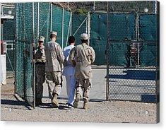 U.s. Navy Guards Escort A Detainee Acrylic Print by Everett