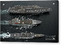 U.s. Navy Ships Conduct A Replenishment Acrylic Print by Stocktrek Images