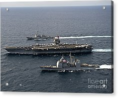 U.s. Navy Ships Transit The Atlantic Acrylic Print by Stocktrek Images