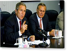 U.s. President George W. Bush Answers Acrylic Print by Everett