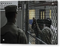 U.s. Sailor Stands Watch Over A Cell Acrylic Print by Everett