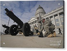 U.s. Soldiers Clean Up After Firing Acrylic Print by Stocktrek Images