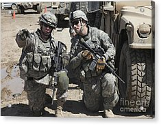 U.s. Soldiers Coordinate Security Acrylic Print by Stocktrek Images