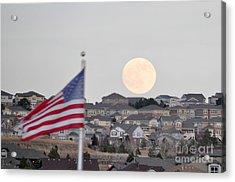Acrylic Print featuring the photograph Usa Flag And Moon by Cheryl McClure