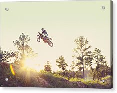 Usa, Texas, Austin, Dirt Bike Jumping Acrylic Print by King Lawrence