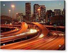 Usa, Texas, Houston City Skyline And Motorway, Dusk (long Exposure) Acrylic Print by George Doyle