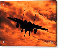 Usaf Strike Eagle F15 E Flying Into The Sunset Acrylic Print by Clare Scott