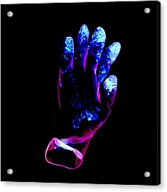 Used Surgical Glove, Negative Image Acrylic Print by Kevin Curtis