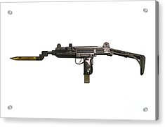 Uzi 9mm Submachine Gun With Attached Acrylic Print by Andrew Chittock