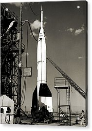 V-2 Bumper Rocket Launch In Usa Acrylic Print by Detlev Van Ravenswaay