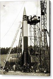 V-2 Prototype Rocket Prior To Launch Acrylic Print by Detlev Van Ravenswaay