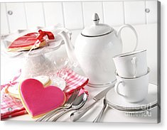 Valentine Cookies With Teapot And Cups Acrylic Print by Sandra Cunningham