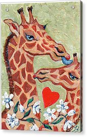 Acrylic Print featuring the painting Valentine Giraffes by Doris Blessington