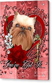 Valentines - Key To My Heart Brussels Griffon Acrylic Print by Renae Laughner