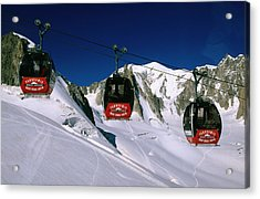 Valle Blanche Aerial Tramway Cabins, Rhone-alpes, France, Europe Acrylic Print by John Elk III