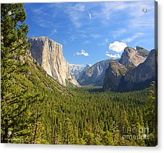 Valley Blue Sky And Clouds Yosemite National Park Acrylic Print
