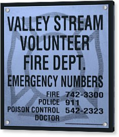 Valley Stream Fire Department In Cyan Acrylic Print by Rob Hans