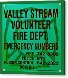 Valley Stream Fire Department In Irish Green Acrylic Print by Rob Hans
