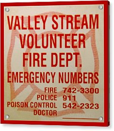 Valley Stream Fire Department Acrylic Print by Rob Hans