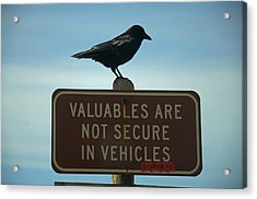 Valuables Are Not Secure Acrylic Print
