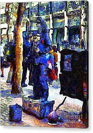 Van Gogh Is Captivated By A San Francisco Street Performer . 7d7246 Acrylic Print by Wingsdomain Art and Photography