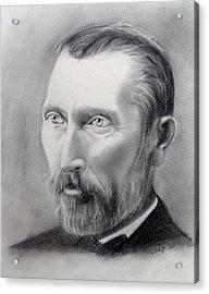 Van Gogh Pencil Portrait Acrylic Print by Andrea Realpe