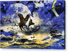 Van Gogh.s Flying Pig 2 Acrylic Print by Wingsdomain Art and Photography