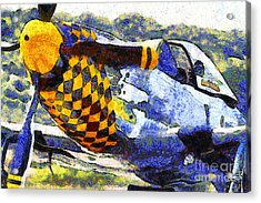 Van Gogh.s P-51 Mustang Fighter Plane . 7d15598 Acrylic Print by Wingsdomain Art and Photography
