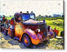 Van Gogh.s Rusty Old Jalopy . 7d15500 Acrylic Print by Wingsdomain Art and Photography