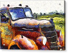 Van Gogh.s Rusty Old Truck . 7d15509 Acrylic Print by Wingsdomain Art and Photography