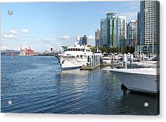 Vancouver Bc Downtown Skyline Panorama Marina Canada. Acrylic Print by Gino Rigucci