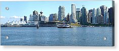 Vancouver Bc Skyline Canada Place Panorama Canada. Acrylic Print by Gino Rigucci