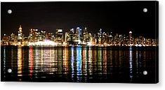 Vancouver Skyline At Night Acrylic Print by JM Photography