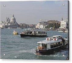 Vaporettos . Venice Acrylic Print by Bernard Jaubert