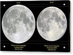 Variation In Apparent Lunar Diameter Acrylic Print by Laurent Laveder