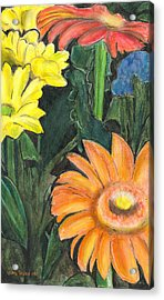 Acrylic Print featuring the drawing Vasco's Flowers by Ana Tirolese