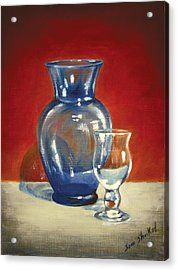 Vase N Glass Goblet Acrylic Print by Sam Shacked