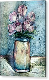 Vase Of Pink Tulips Acrylic Print by Arline Wagner