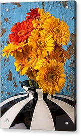 Vase With Gerbera Daisies  Acrylic Print by Garry Gay