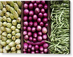 Vegetable Triptych Acrylic Print by Jane Rix